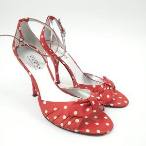 Guess Red Polka Dot Heels 7.5